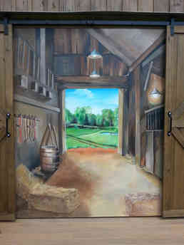 Hand painted mural for a wedding venue in Barnesville, GA