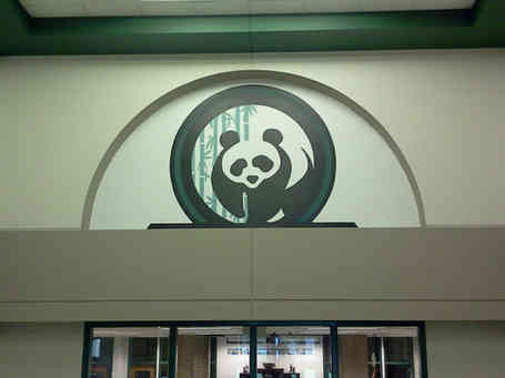 Hand painted school logo in an entry way foyer in Jackson, GA