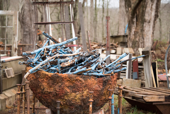 Cauldron of Blue in yard