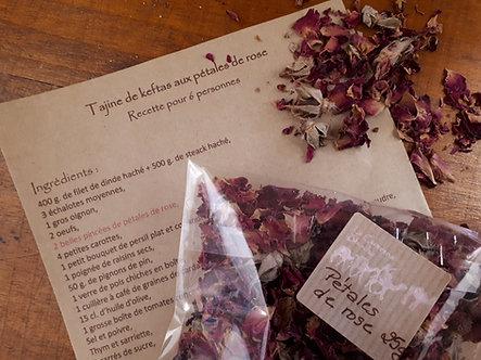 Pétales de rose pour la cuisine - 25 g.