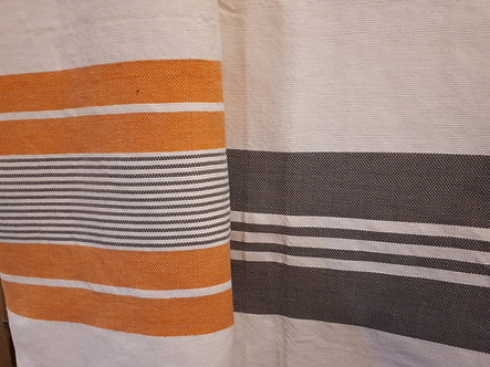 Grand fouta tissé à la main orange et/ou gris
