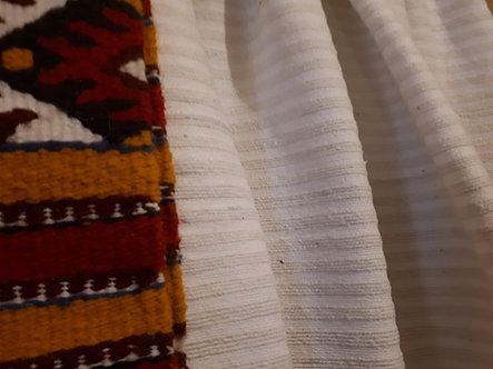 Pièce de coton à rayures tissées blanc cassé