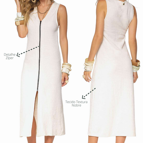 Vestido Cru Textura Detalhe Ziper Cru