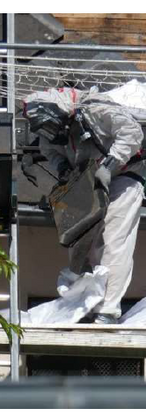 Dépose des éléments de couverture amiantés avec mise en sacs pour évacuation vers un centre de traitement agréé©JLandmann