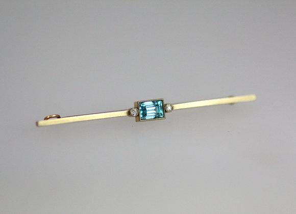 Zircon and Diamond Bar Brooch