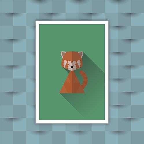 Red Panda - Minimal Art Print