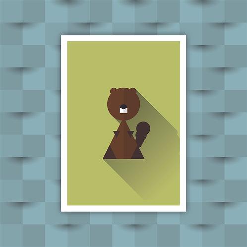 Beaver - Minimal Art Print