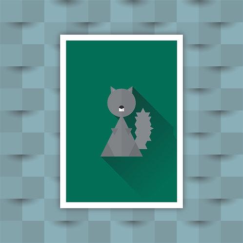 Squirrel - Minimal Art Print