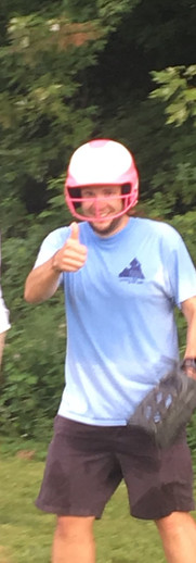 Pastor Rob is still in good spirits despite getting hit with a softball.