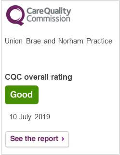 Care Qaulity Commission, Union Brae and Norham Practice, CQC overall rating, good, 10 July 2019, see the report