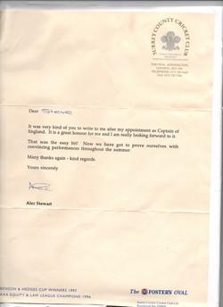Alec Stewart Letter