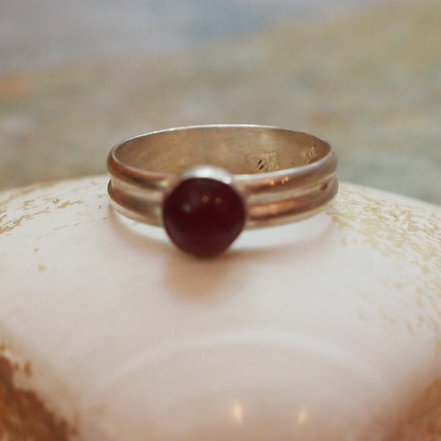 6mm carnelian double band ring size 6