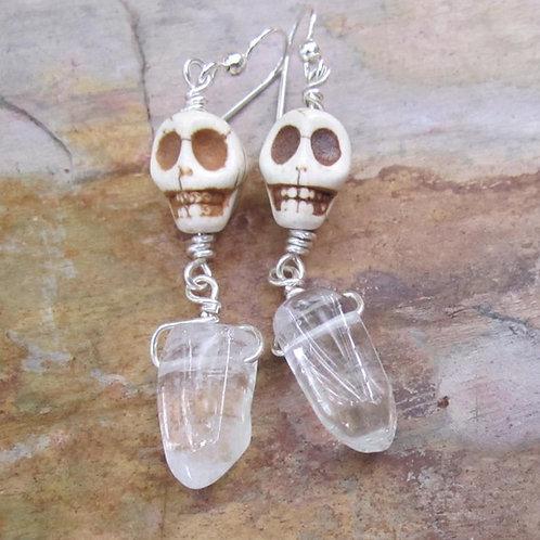 Howlite skulls drop earrings