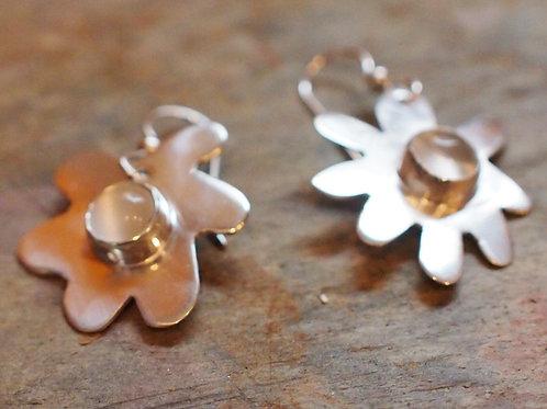Moonstone flower earrings