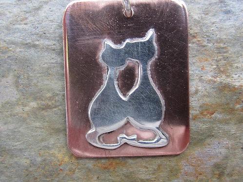 silver kitties pendant