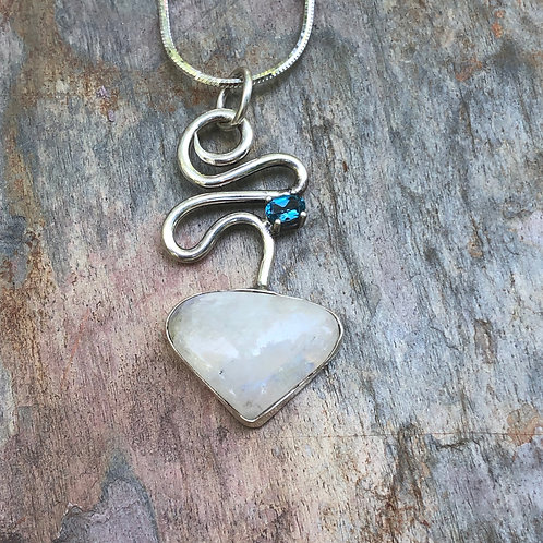 Moonstone and blue topaz swirl