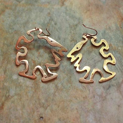 Copper walking dude cutout earrings