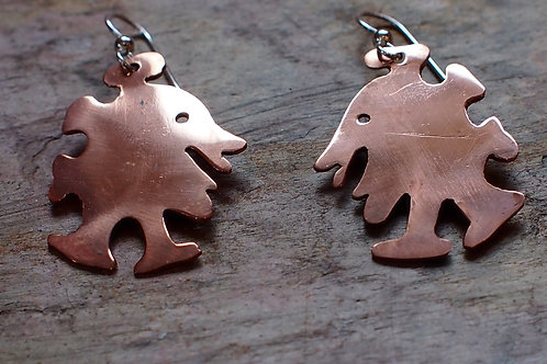 Medium Copper Walking Dude earrings