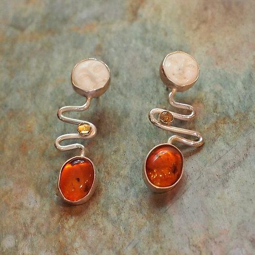 Amber and citrine swirl earrings