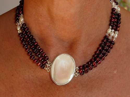 Mother of pearl and freshwater pearl triple strand