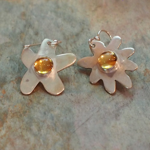 Citrine flower earrings