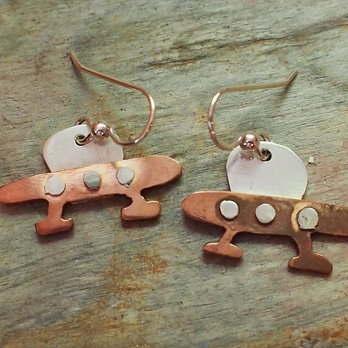 Copper UFO earrings