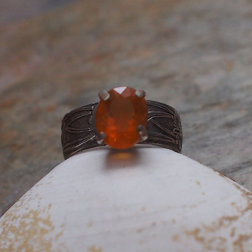 Faceted citrine floral band size 8