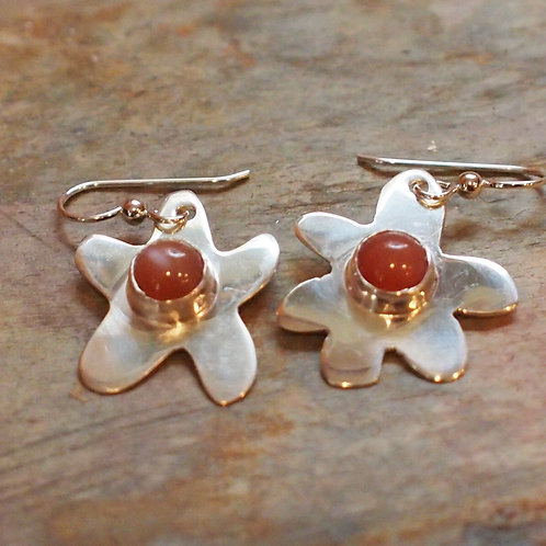 Peach moonstone flower earrings