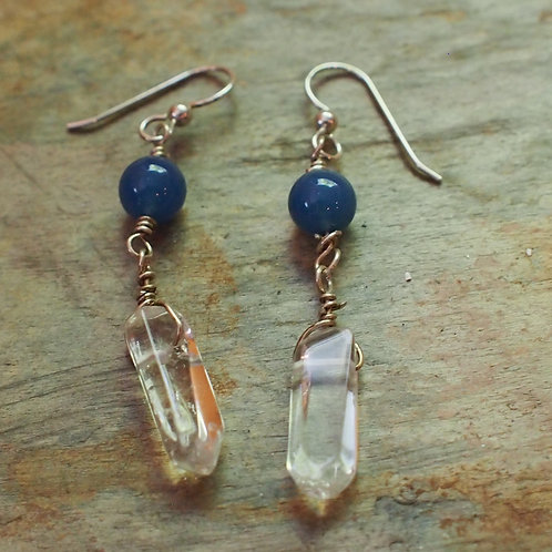 Blue onyx quartz crystal drops