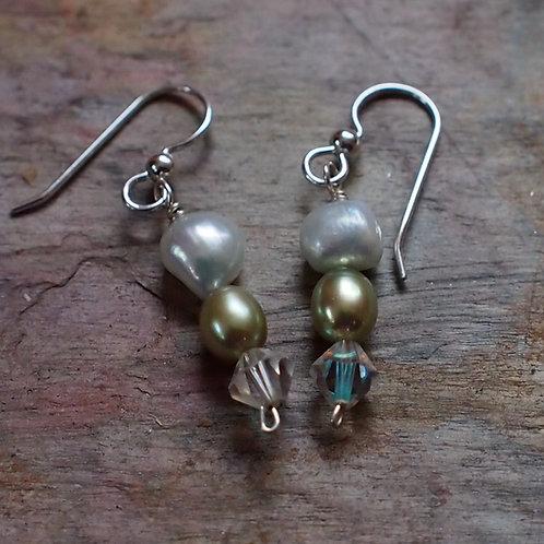 Freshwater pearl and Swarovski crystal earrings