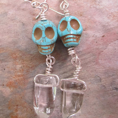 Turquoise skull and quartz crystal earrings