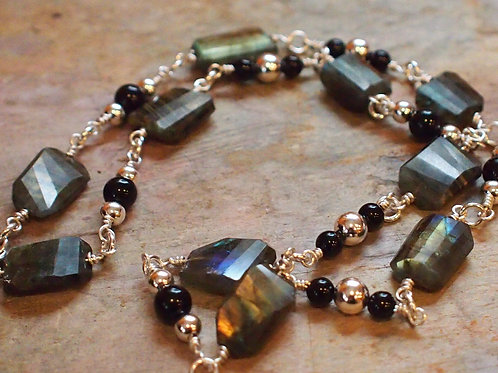 Labradorite and black onyx necklace