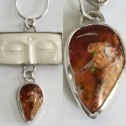 Fire opal and Buddha face pendant