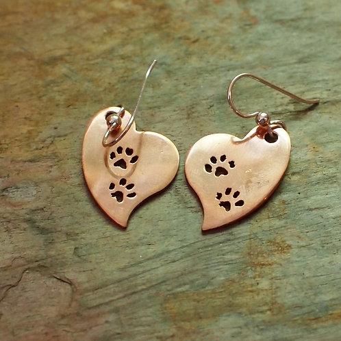 Copper paw print hearts