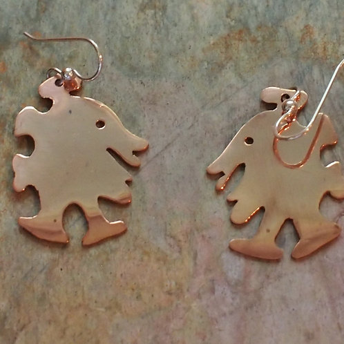 Copper walking dude earrings