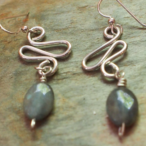 Labradorite swirl earrings