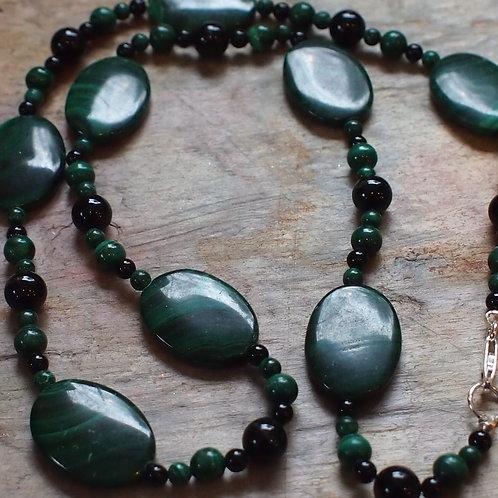 Malachite and black onyx necklace