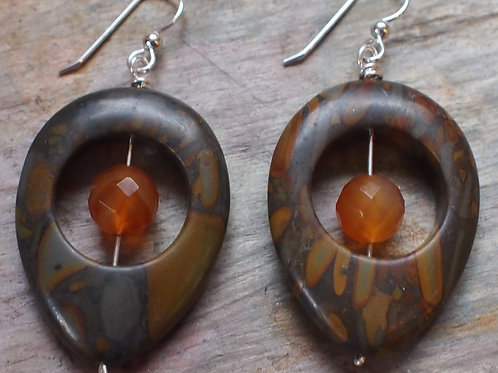 Riverstone and carnelian earrings