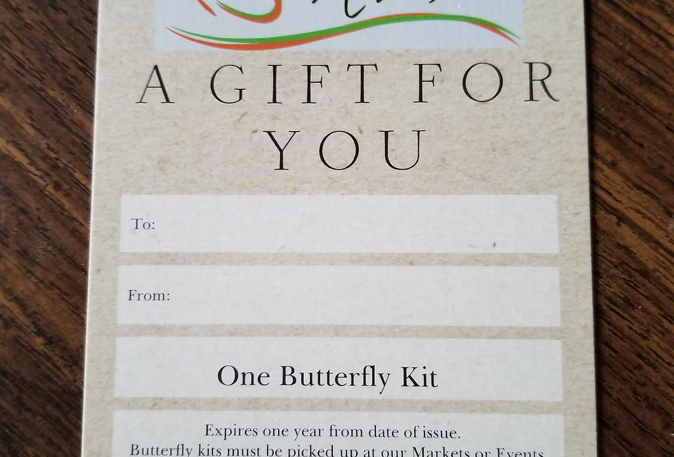 Gift Certificate for Butterfly Kit w/ 1 Caterpillar
