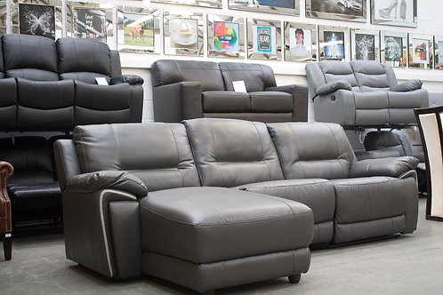Grey leather chaise sofa