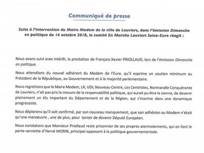 Communiqué de presse du comité En Marche Louviers Seine-Eure