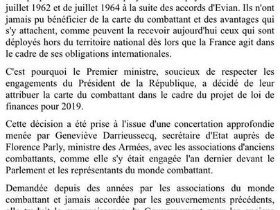 Carte du combattant pour les soldats Français ayant servi en Algérie