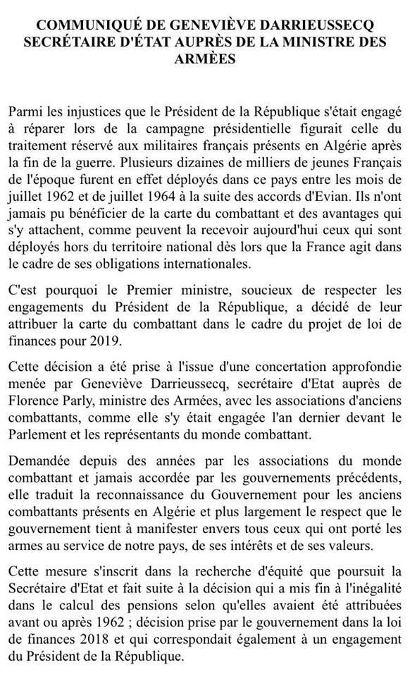 Carte du combattant - Soldats Français Algérie