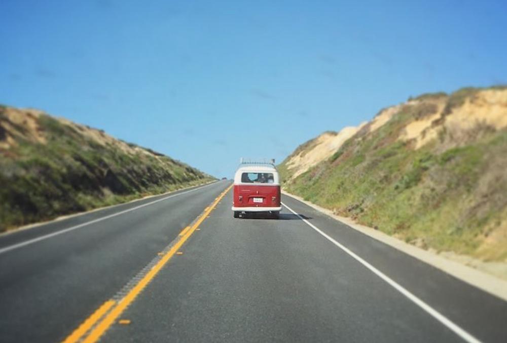 California road trip in a vw bus