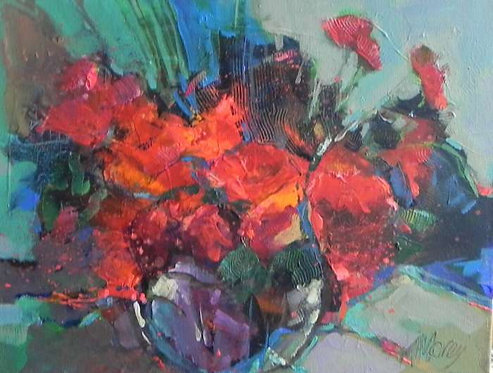 Poppies with a blue scarf