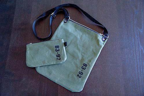 【受注生産】8392 キャンバスショルダーバッグ<TYPE B・オリーブグリーン>