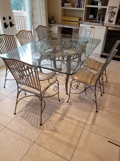 Palma Brava Glass Top Table with 7 chairs