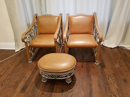 Pair of Palma Brava Leather Chairs with Ottoman