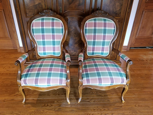 Pair of Plaid Chairs with Walnut Frames