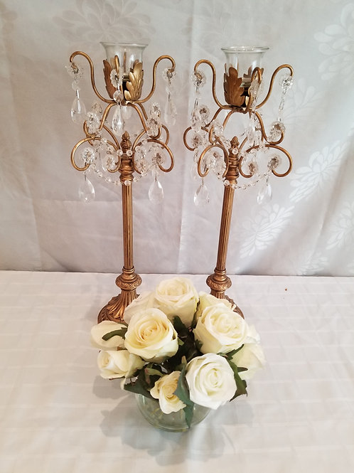 2 Crystal Candle holders and roses in vase